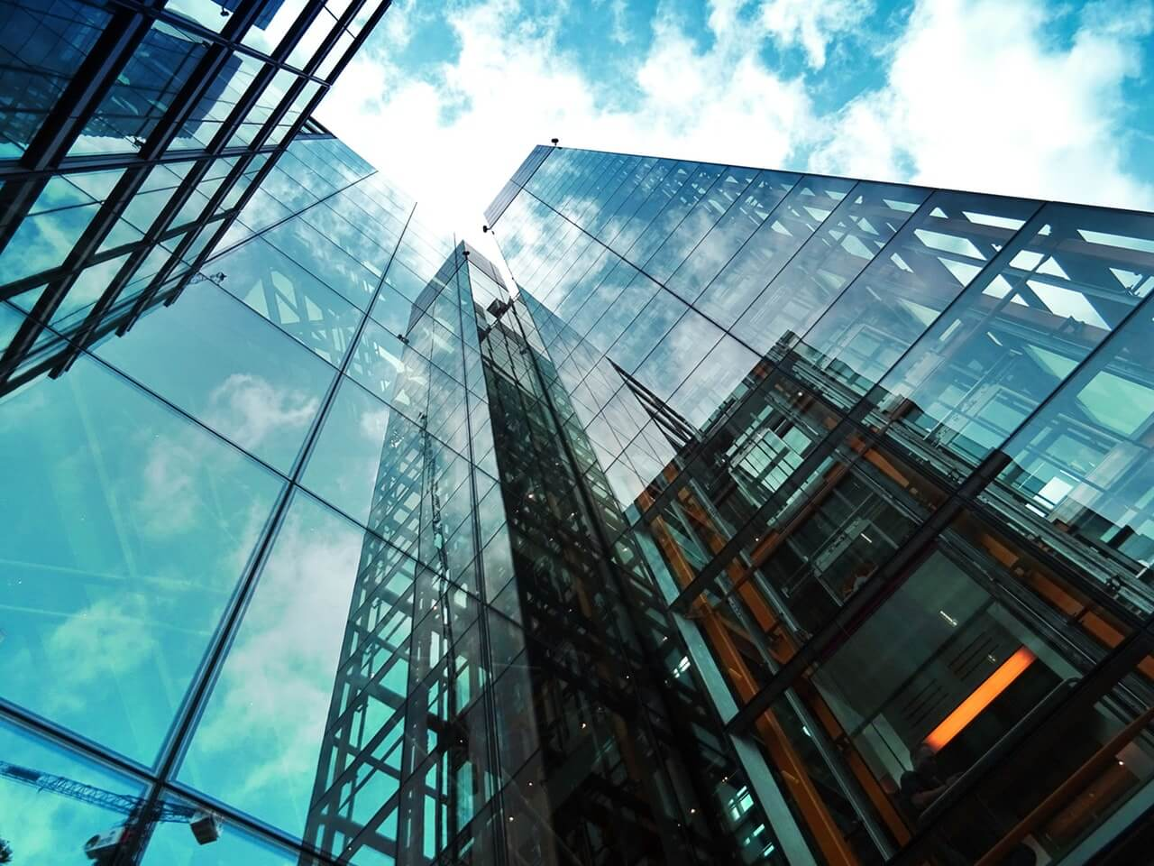 High rise glass building